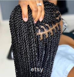 Tresses sans noeud, perruque tressée, Knotless Twist, Braids avant dentelle, Twist sénégalais, perruque de tresse de dentelle complète, perruque perruque perruque perruque, tresses noires de femme