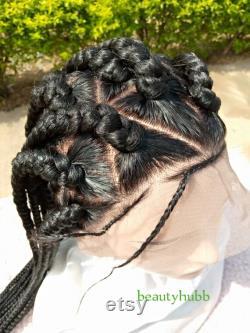 Triangle coupé Jumbo Braid Perruque, perruque de tresse pour femme noire, perruque pour femme noire, perruque de tresse de boîte, perruque de tresse complète, perruque de tresse complète, perruque de dentelle complète