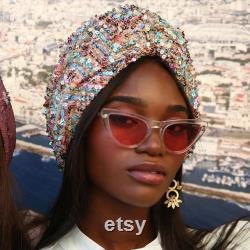 Turban rose de sequin, Turban avec la torsion, turban perlé, couvre-chef de sequin, enveloppement de tête de sequin, sequin de femmes de turban, turban de mariage