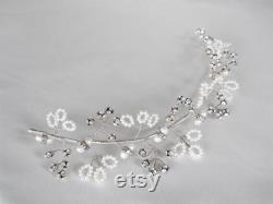 Vigne de cheveux mariage cristal, cristal de Swarovski et vigne de cheveux perle, vigne de cheveux bandeau, Crystal vine bandeau en or ou argent