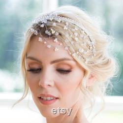 Vigne de cheveux nuptiale rustique, casque argenté romantique, mariage fantaisiste, vigne de mariage de pays argenté, or de Boho, morceau de cheveux de mariage