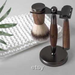 WLDOHO set cadeau de noix avec rabot à raser, brosse à raser, présentoir de rasoir en bois noble et 5 lames de rasoir i set de rasoirs set rasant