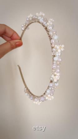 couronne nuptiale avec des perles et des fleurs séchées con ues pour les mariages, couronne de mariage