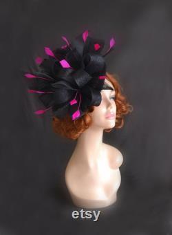 fascinator rose noir, chapeau rose noir de derby, chapeau noir de derby, chapeau noir de fascinator, chapeaux pour des événements spéciaux,