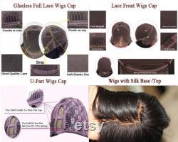 perruques vague courte de la dentelle de cheveux humains avant et perruques de dentelle complète colleless pour les femmes noires dentelle avant perruques bob avec des sangles réglables