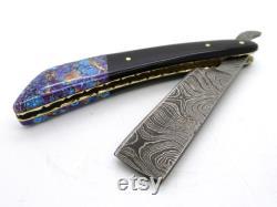 poignée droite de pierre de rasoir de damas, lame droite pliante de rasoir, lame de rasoir en acier de damas, rasoir droit de bord, cadeau unique pour des hommes