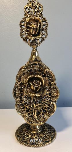 vintage Gold Rose Pedestal Perfume Bottle dauber. Vanité fonctionnelle de style rose de rose. Décor vintage de vanité du milieu du siècle.
